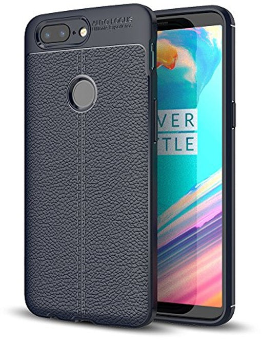 Back Cover, Drop Tested, TPU (Rubber), blue, Leather, Leather Armor TPU, ₹500 - ₹699, Solid, Slim Design, oneplus, oneplus 5T,