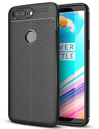 Leather Armor TPU Series Shockproof Armor Back Cover for One Plus 5T 6.01 inch, Black