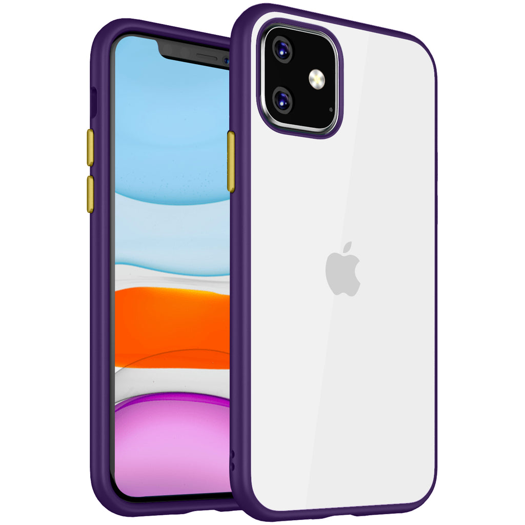 Apple, Back Cover, Drop Tested, TPU (Rubber), iPhone 11, , purple, Simply Clear, ₹500 - ₹699, PolyCarbonate (Plastic), Slim Design, Transparent