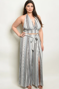 """Candy"" 2 Piece Grey Striped Plus Size Outfit"