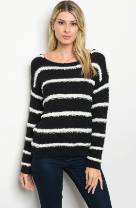 """Sandy"" Black and White Striped Sweater"