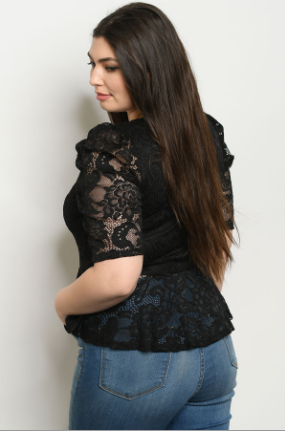 """Lucy"" Black Plus Lace Top"
