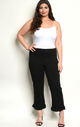 Black Ruffled Plus Size Pants