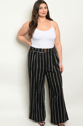 """Carmella"" Black Ivory Striped Plus Size Pants"