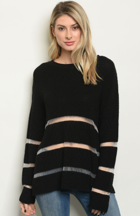 """Gina"" Black Mesh Sweater"