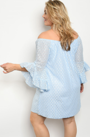 """Lisa"" Light Blue Off the Shoulder Plus Size Dress"