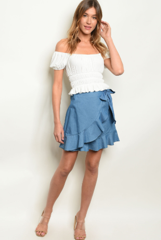 Blue Ruffle Skirt