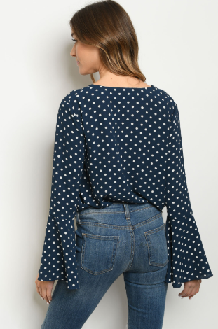 """Jillian"" Navy & White Polka Dot Bodysuit"