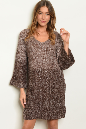 """Robin"" Brown Sweater Dress"
