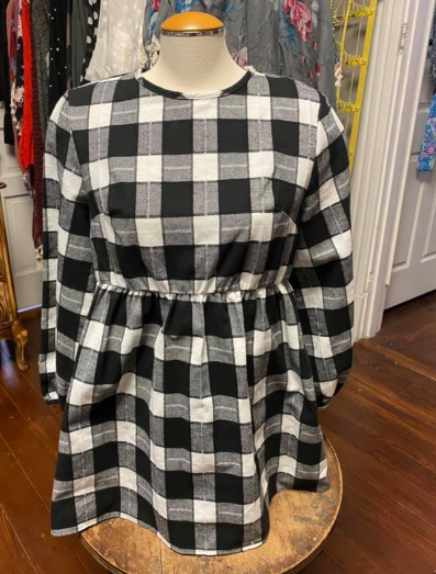 """Denise"" Ivy Buffalo Plaid Puff Sleeve Top"