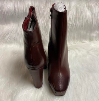 Burgundy Mid-Calf Heeled Boot