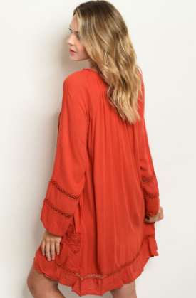 """Toni"" Burnt Orange Earth Dress"