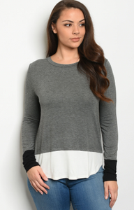 """Catalina"" Layered Charcoal Plus Size Long Sleeve"