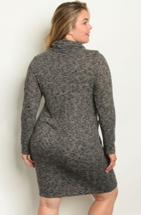 """Jodi"" Charcoal/Taupe Black Stripes Pocket Plus Size Dress"