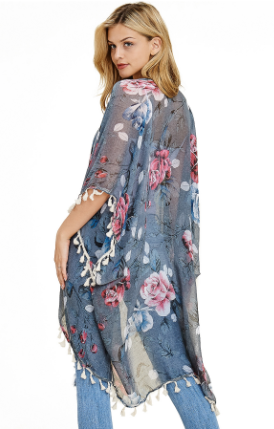 """Beth"" Grey Floral Kimono With Tassels"