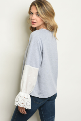 """Diana"" Grey Bell Sleeve Shirt"