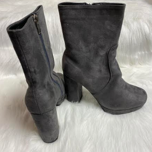 Grey Mid-Calf Boots With Heels