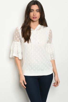 """Ariana"" Ivory hooded lace overlay top"