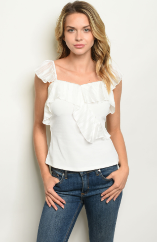 """Ashley"" Ivory Ruffle Top"