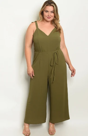 """Jennifer"" Olive Plus Size Jumpsuit"
