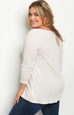 """Kelsie"" Taupe Striped Plus Size Top"