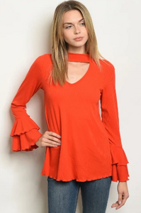"""Krista"" Orange Bell Sleeve Top"