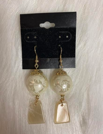 Large Pearl With Ivory Dangle Earrings