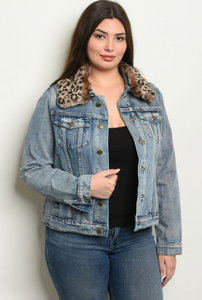 """Reba"" Denim Wash Plus Size Jacket"