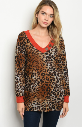"""Deloris"" Rust Leopard Long Sleeve Top"