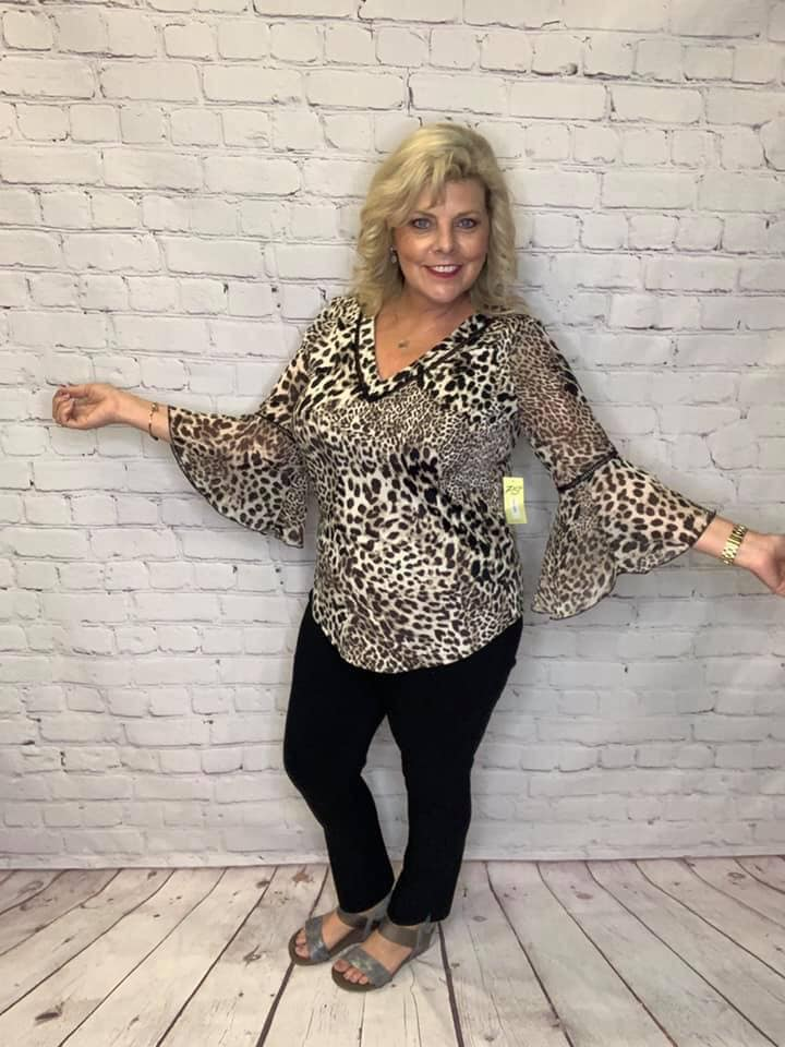 """Ramona"" Animal Print Bell Sleeved Blouse"