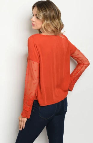 """Liz"" Rust Orange Top with Lace Sleeves"