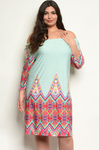 """Missy"" Mint Coral Patterned Plus Size Dress"