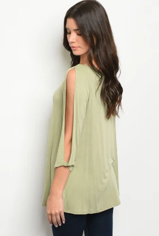 """ Misty"" Olive Open Sleeve Top"