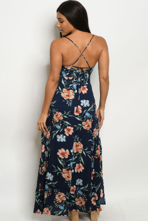 """Biance"" Navy Floral Criss Cross Back Dress With Slit"