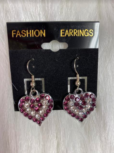 Purple Heart Crystal Earrings
