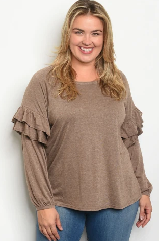 """Pheona"" Taupe Plus Size w/Ruffle Sleeve Top"
