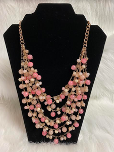 Pink & Gold Bead Multi Strand Necklace