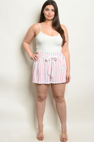 Off White Pink Plus Striped Shorts