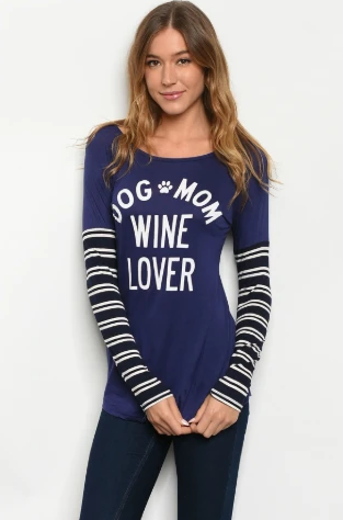 """Renea"" Navy Dog Mom Wine Lover Print Top"