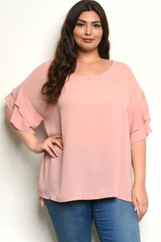 """Rose"" Light Pink Plus Size Blouse"