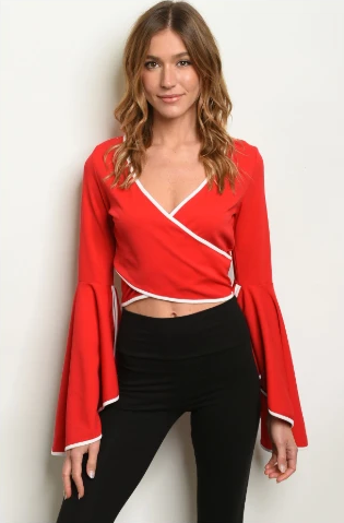 """Sheena"" Red Crisscross Bell Sleeve Shirt"