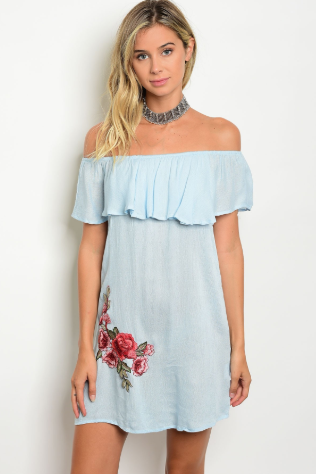 """Rebecca"" Off The Shoulder Sky Blue Dress"
