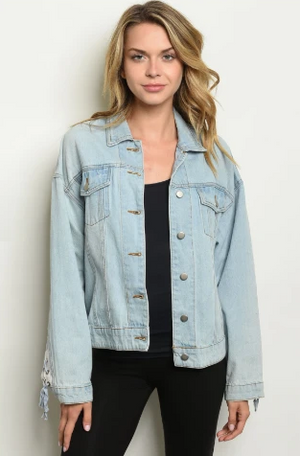 """Traci"" Lace Up Denim Jacket"