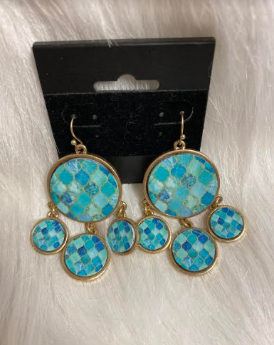 Turquoise & Gold Dangle Earrings