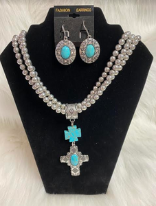Long Silver Beads with Turquoise Cross Pendant W/Earrings