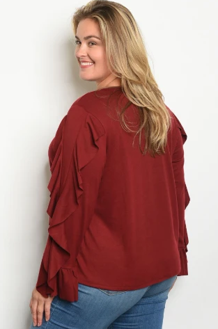 """Wendy"" Wine Plus Size Ruffled Sleeve Top"