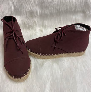 Wine Ankle Lace-up Boots