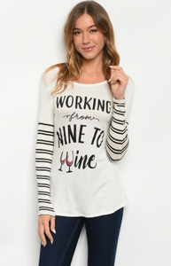 """Giselle"" Ivory Wine Print Top"