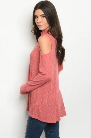 """Yvonne"" Rose Cold Shoulder Turtle Neck w/thumb holes"