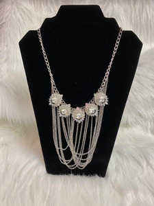 Handmade Ooak Crystal Rhinestone Drape Necklace On Chains